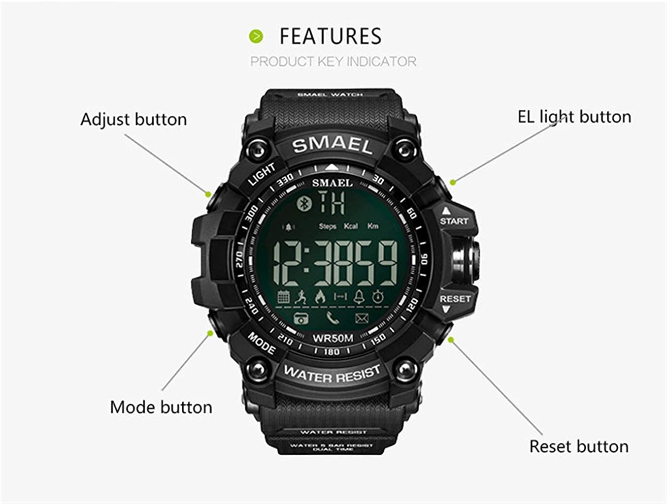 Amazon.com: SMAEL Digital Watch Sports Watch Military Watch with Waterproof Function and Alarm Clock,for Men,by WoCoo(Black): Clothing