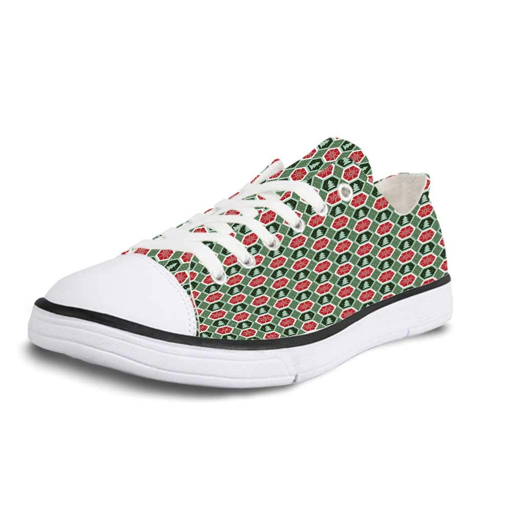 Geometric Soft Low Top Canvas ShoesGeometric Rhombuses with Azulejo Design Ornamental Flower Pattern European Art for Women,US 5