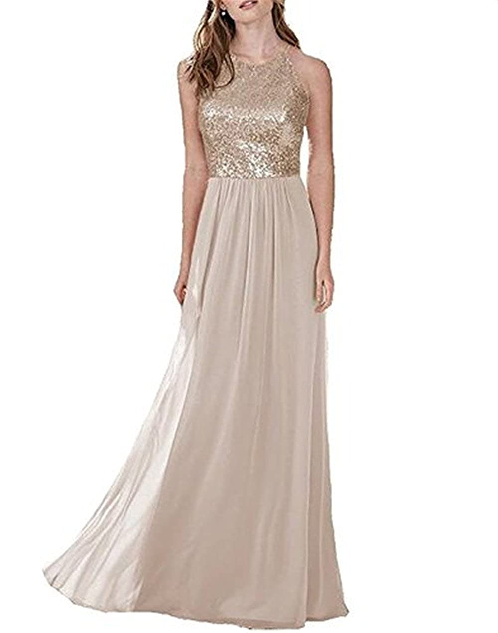 7ebf4326b9e Sequin and Chiffon Sweetheart Neck Bridesmaid Dresses Long Dress can be  used for wedding party