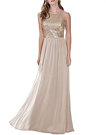 Butmoon Womens Sequin Halter Bridesmaid Dress for Wedding Chiffon Long Prom Dresses Gold US0