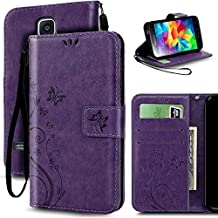 S5 Case, Korecase Premiun Wallet Leather Credit Card Holder Butterfly Flower Pattern Flip Folio Stand Case for Samsung Galaxy S5 NEO With a Wrist Strap - Purple