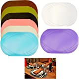 2 Pack Vinyl Placemat Kitchen Home Decor Table Protection Oval Round Mat New !
