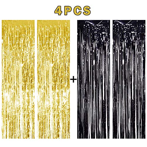 NPLUX 4PCS 3' X 8' Black and Gold Metallic Tinsel Foil Fringe Curtain for Wedding Birthday Christmas Party Decoration Backdrop]()