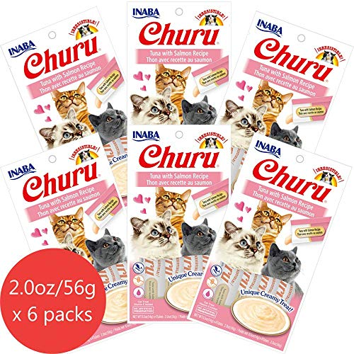 INABA Churu Tuna with Salmon Recipe Lickable Creamy Purée Cat Treats 24 Tubes