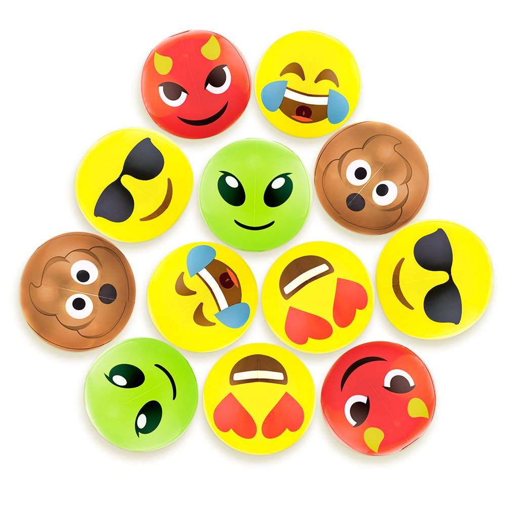 Amazon Beach Ball Set With Emoji Faces Unique Pool Birthday Party Gifts Or Favors For Kids Teens 6 Funny Emojies Choose Your Size