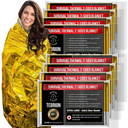 "(TEBRION 8 Packs Double Sided Emergency Thermal Foil Authentic Mylar Space Blankets (Size: Extra Large 63"" x 82"") Designed for NASA - Perfect for Bug Out Bag, Survival Kit, Camping, Auto, Outdoors)"