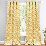 "Cheap DriftAway Julianna Geometric Pattern Thermal Insulated Blackout/Room Darkening Grommet Unlined Window Curtains, Set of Two Panels, each 52""x84"" (Golden Yellow)"