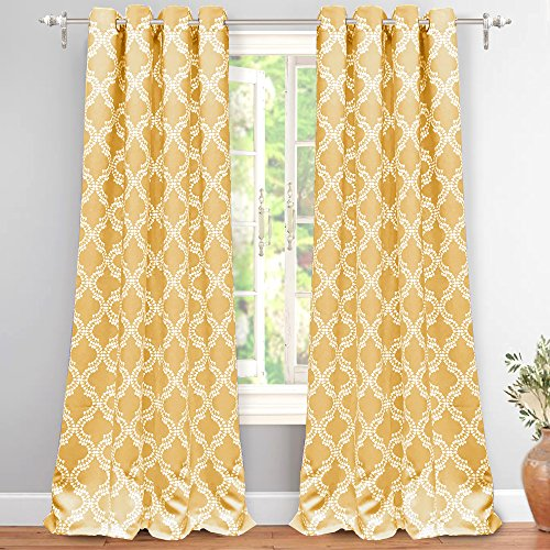 DriftAway Julianna Geometric Pattern Thermal Insulated Blackout Room Darkening Grommet Unlined Window Curtains 2 Panels Each Size 52 Inch by 84 Inch Golden Yellow (Yellow Curtain Chevron)