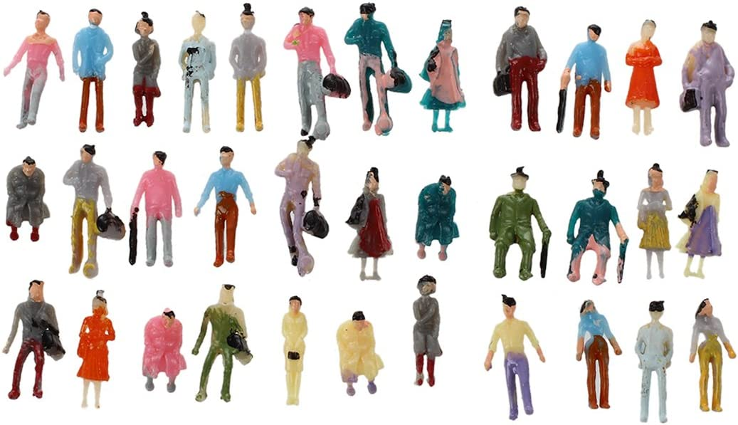 Gaetooely 100pcs Painted Model Train Passenger People Figures Scale 1:150