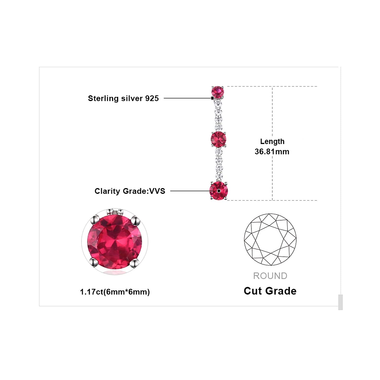 CS-DB Silver Fashion Stones Ruby Wedding JewelryPendants Necklaces For Womens
