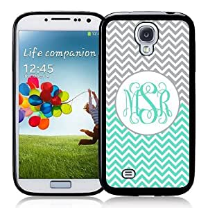Cool Painting Monogram Monogrammed Personalized Customized Micro Chevron Gray ; Mint Galaxy S4 Case SIV Case i9500 - Personalized for FREE (Send us an Amazon email after purchase with your monogram choice)