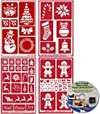 4 Pack of Christmas Stencils , Over N Over Reusable + How to Etch CD