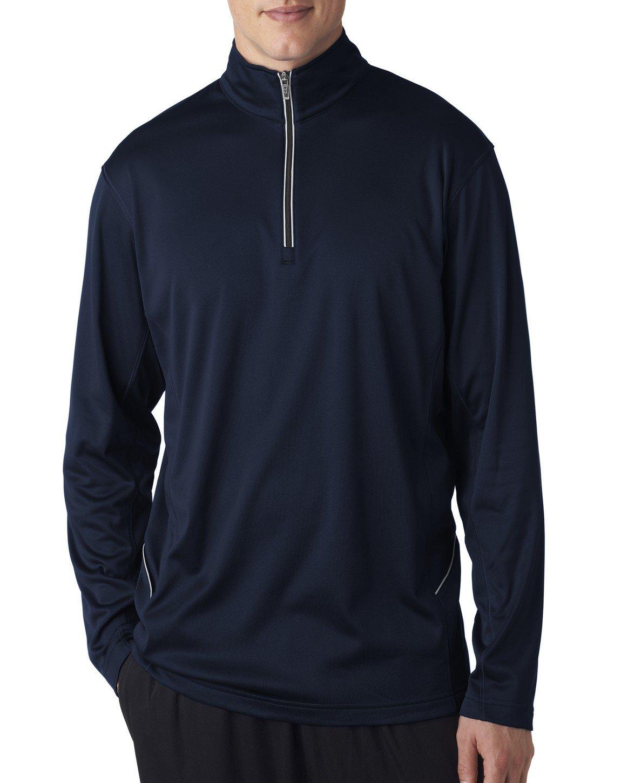 UltraClub Men's Sport Moisture Wicking 1/4 Zip Pullover, XXXX Large, Navy