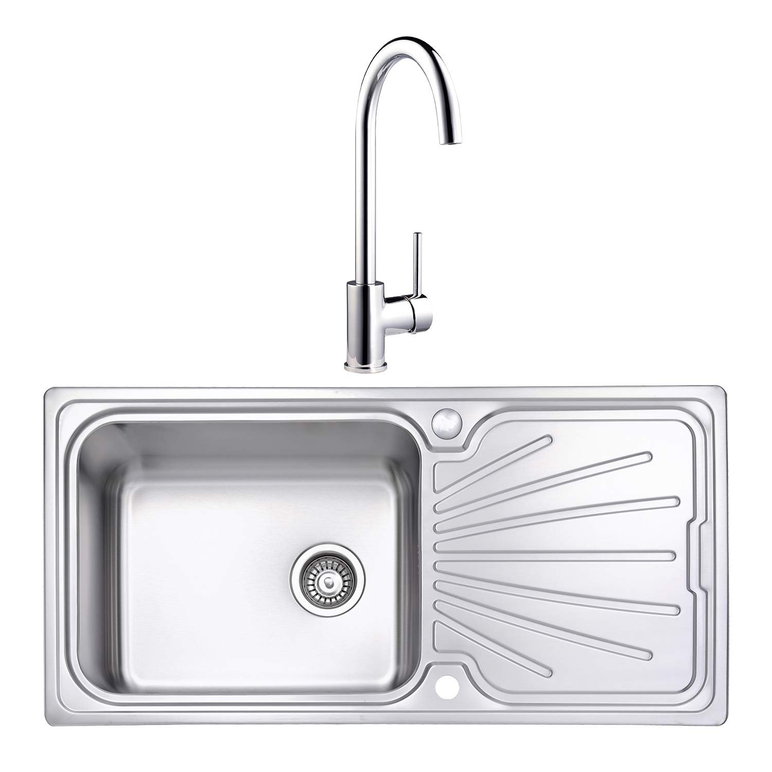 Jass ferry 1000 x 500 mm quality stain finish stainless steel kitchen sink large bowl inset reversible drainer with polished chrome single double lever taps