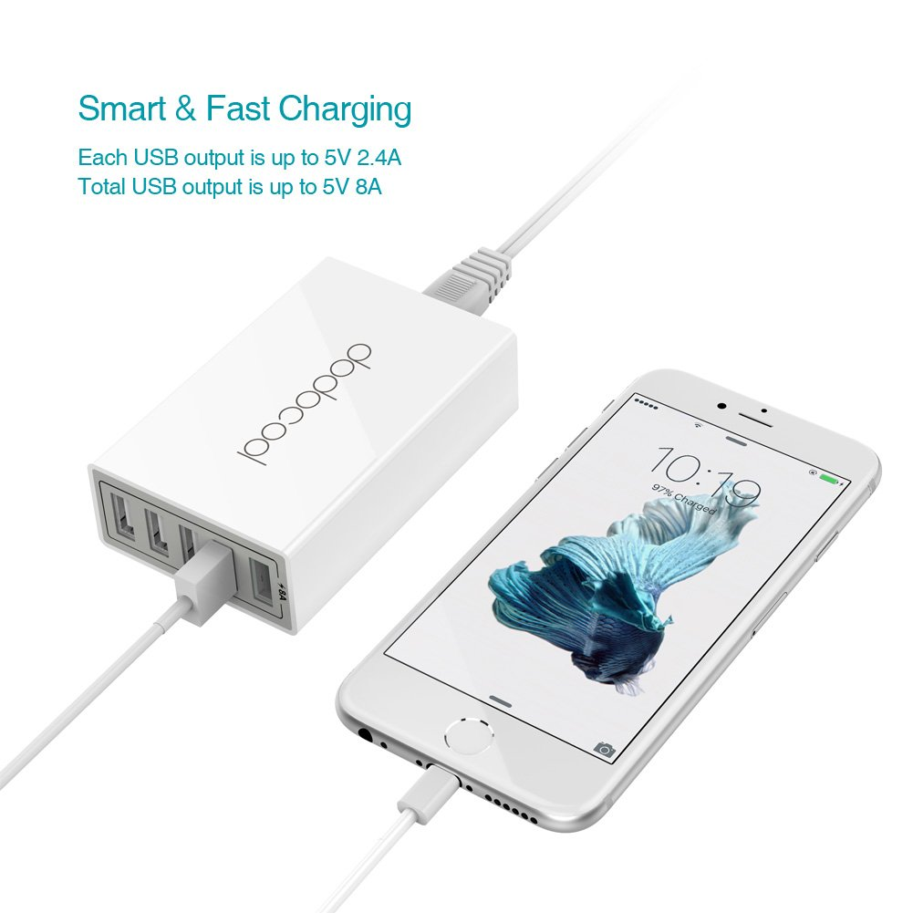 Amazon.com: dodocool USB Charger 40W 8A 5-Port USB Charging Station ...