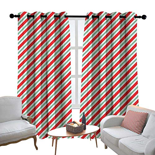 - Lewis Coleridge Blackout Curtains for Bedroom Candy Cane,Bicolor Stripes and Lines Festive Traditional Design Seasonal Pattern, Red Fern Green White,Darkening Grommet Window Curtain-Set of 2 52