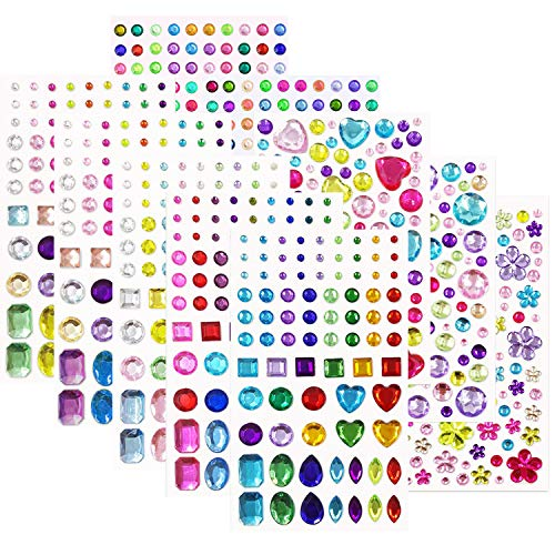 978Pcs Self-Adhesive Multicolor Rhinestone Sticker Bling Craft Jewels Crystal Gem Stickers, Assorted Size, 10 Sheets
