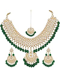 I Jewels Kundan & Pearl Choker Necklace Set for Women (K7058G)