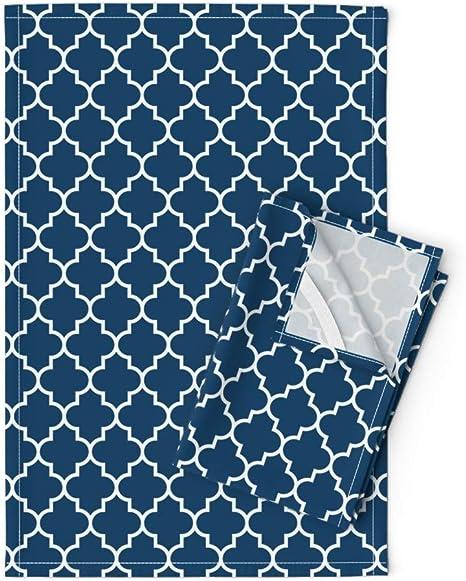 Roostery Tea Towels Quatrefoil Moroccan Lattice Blue Trellis Navy Blue 023f67 Print Linen Cotton Tea Towels Set Of 2 Home Kitchen