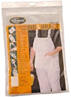 ProDec Painters Decorators 100% Cotton White Work Bib And Brace Overalls Coveralls With Quilted Knee And Kneepad Pockets