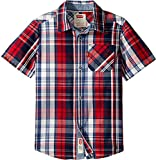 Levi's Boys' Toddler Short Sleeve Button Up Shirt, Chinese Red, 3T