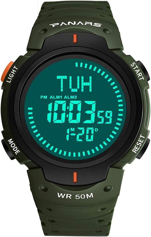 ADAHX Mens Sports Reloj Digital, 50m Impermeable Relojes de ...