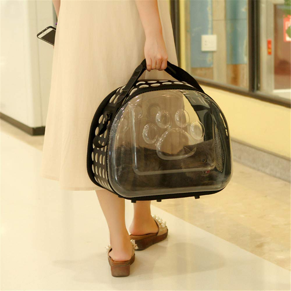 NTUOO Pet Bag Pgoldus Transparent Out Pouch Pet Shoulder Sack Handbag Two in One Cat Dog Universal Transparent Folding Storage Travel Essential Black