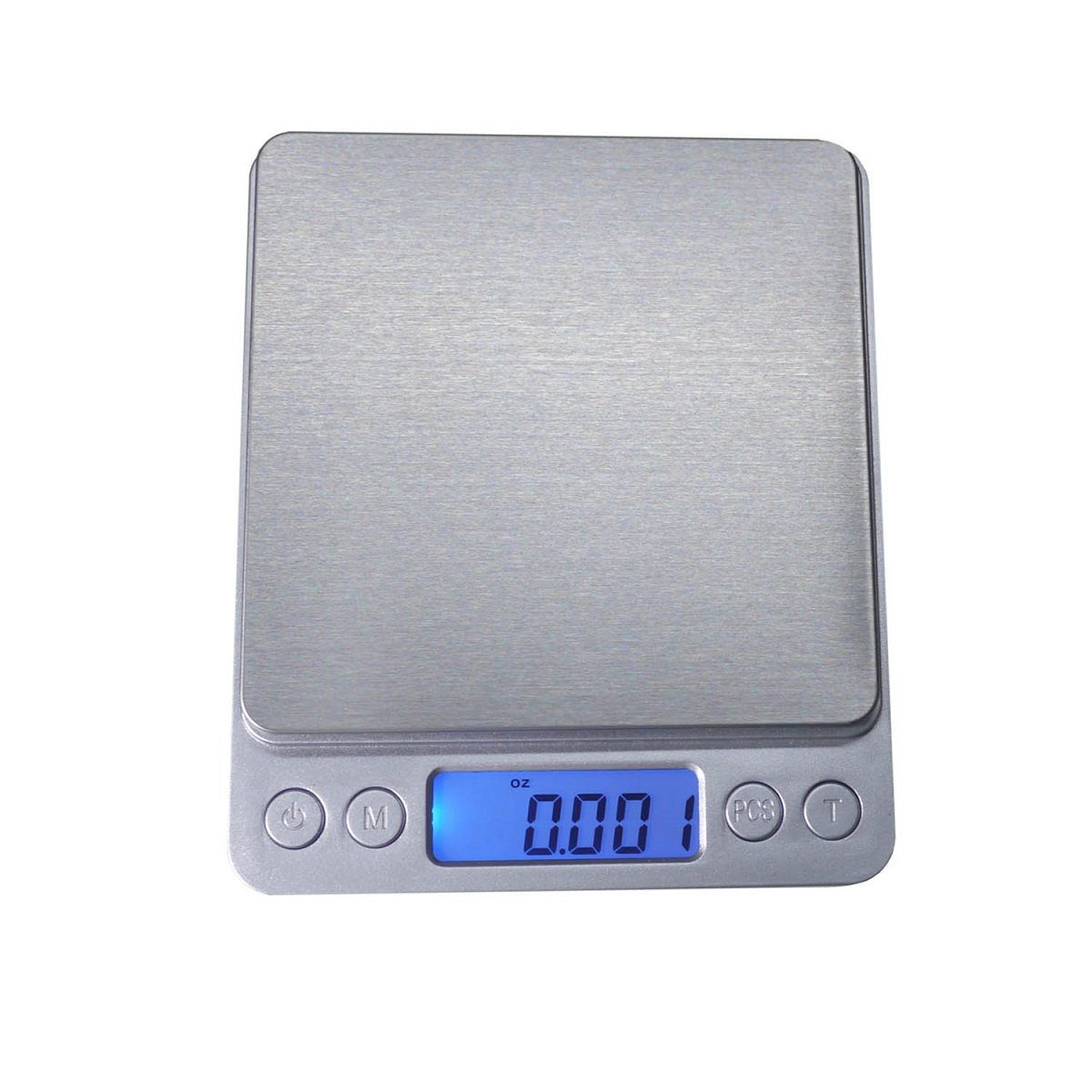 Home Use Digital Multifunction Food Kitchen Scale with Back-Lit LCD Display, Portable Pocket Scale, Tare, Hold and PCS Features (3000g x 0.1g/0.003oz) (Silver) (2 Lids Included)
