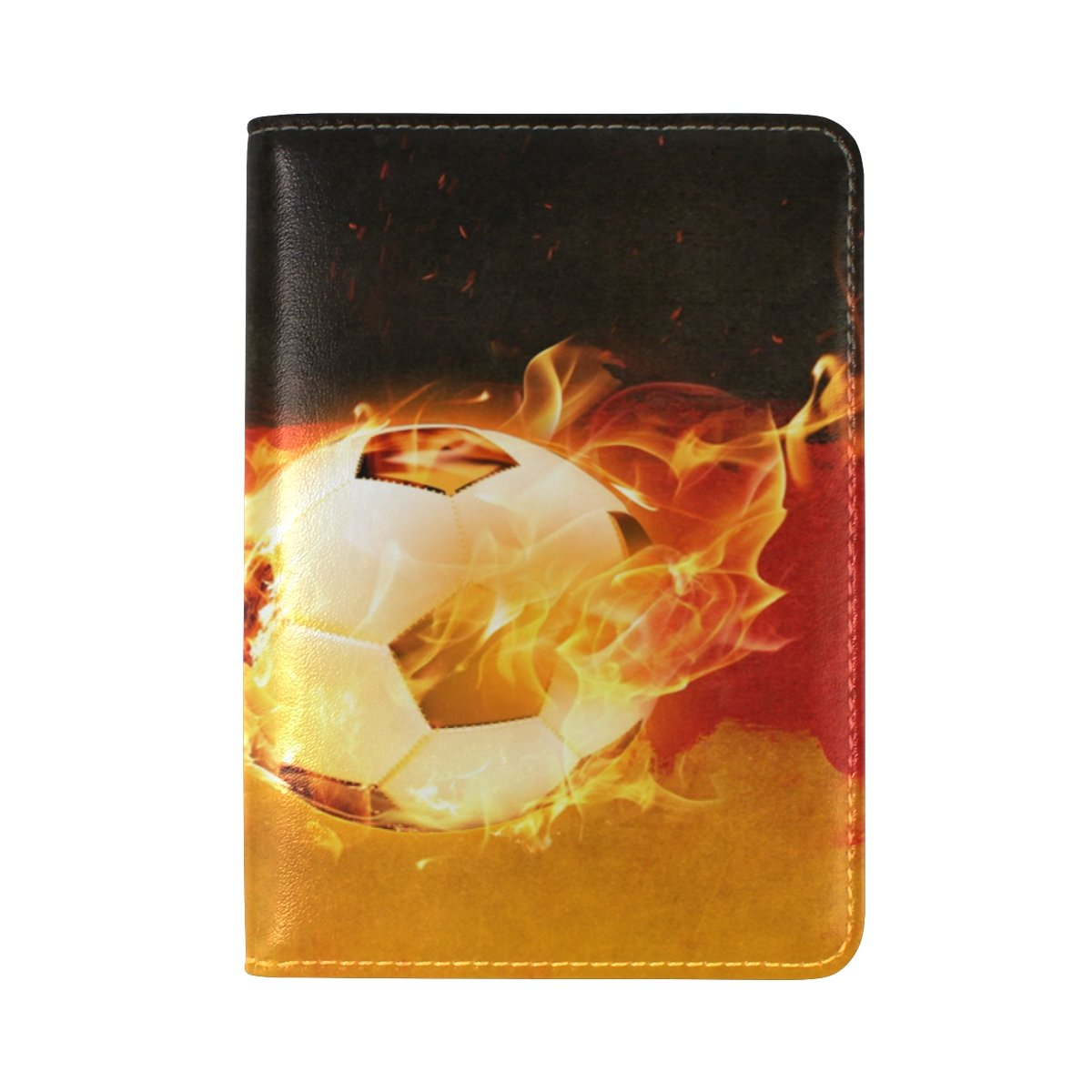 PU Leather Passport Holder Cover Case with Germany Flag Soccer With Fire Travel One Pocket