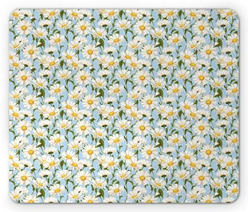 Daisy Mouse Pad, Chamomile Flowers Garden Spring Foliage Harvest Yard Shabby Pattern, Standard Size Rectangle Non-Slip Rubber Mousepad, Ivory Olive Green Baby Blue ()