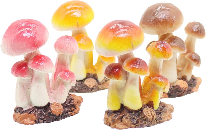 4 Pcs Mushroom Miniature Figurines Mushroom Statue Resin Figurines Fairy Garden Miniature Moss Landscape DIY Terrarium Crafts Ornament Accessories for Home Décor,B