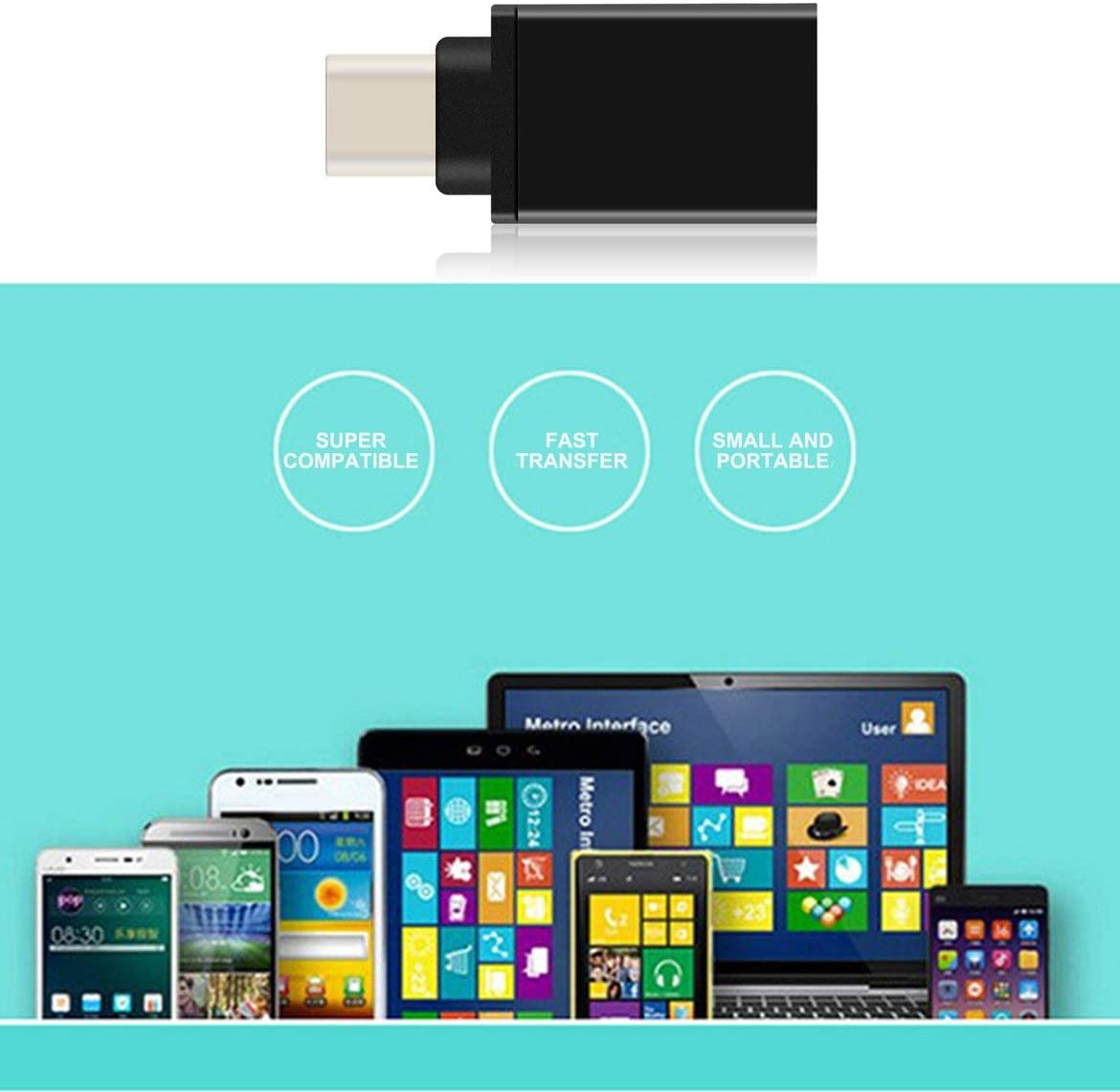 Portable USB 3.1 Type-C Male to USB 3.0 A Female Converter USB Cable Adapter Durable Aluminum Alloy Shell Ultra Light