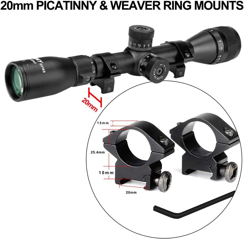 Svbony Mira Telescopica,Visor Telescopico 20mm Rieles Weaver y Picatinny Aluminio Solo Apto para Actividades Deportivas al Aire Libre