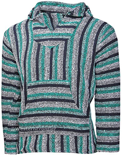 El Paso Designs Mexican Style Baja Hoodie (X-Large, Teal Striped)