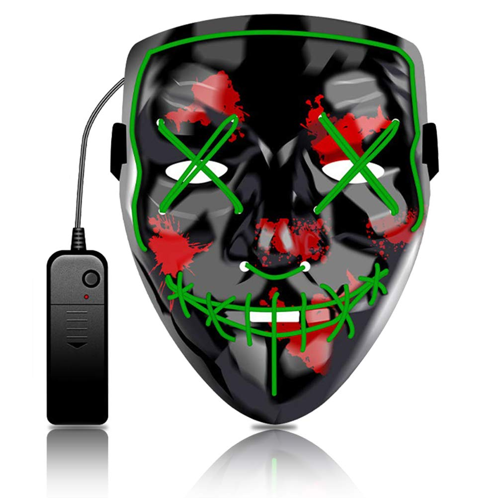 Led Purge Mask Light up Costumes Halloween Scary Rave El Wire Masks for Masquerade Party Green by Kaiyuan Dynasty