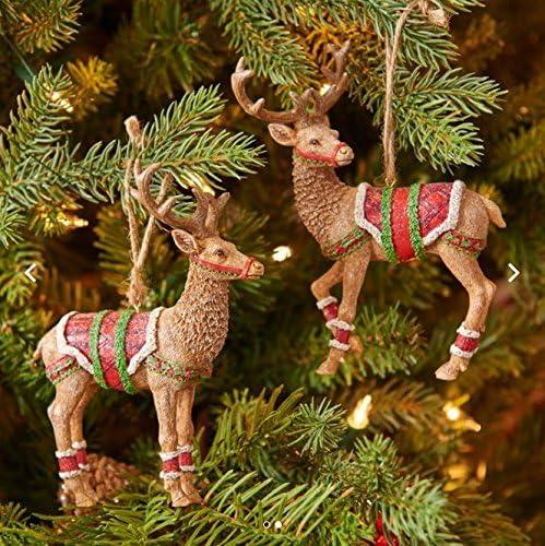 "RAZ Imports 4.5/"" Christmas Brown Fawn Deer Ornament~Set of 2~Reindeer Figurine"