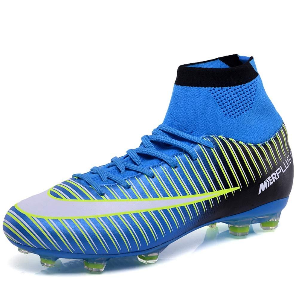 Jincosua AG Herren Fußballschuhe Durable Non Slip Atmungsaktive Shock Absorbing Trainer (Farbe   Blau, Größe   EU 39)