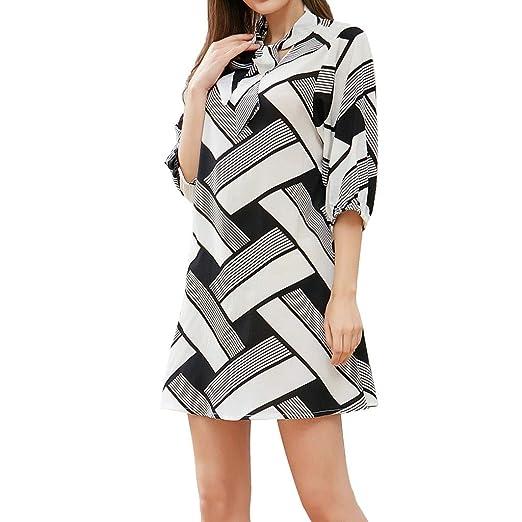 b570f1af8c0 Amazon.com: Usstore Women Mini Dress Geometric Print Half Sleeve Bow-Knot  Neck Summer Fashion Casual Loose Work Daily Baggy Shirt: Clothing