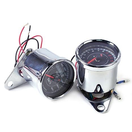 Amazon com: LED 13000 RPM Tachometer + Dual Speedometer