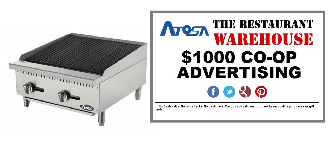 Atosa 24-Inch Char-Rock Broiler - Natural Gas and $1000 Restaurant Advertising Credit