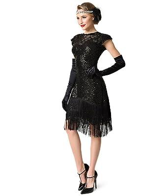 378d9d5fe1d0 Image Unavailable. Image not available for. Color  Unique Vintage 1920s  Black Sequin Fringe Del Mar Flapper Dress