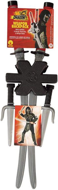 Disfraz de ninja - Set de armas ninja, katanas a la espalda - talla única (Rubie's 6672)