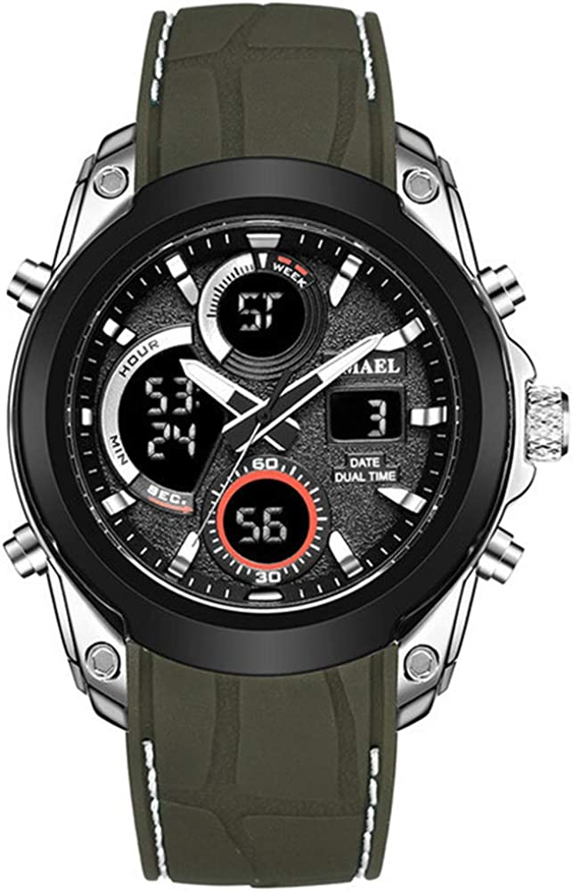 Relojes Deportivos para Hombre Moda Reloj LED analógico Digital Resistente al Agua Hombres Reloj de luz de Fondo Militar multifunción Reloj de Pulsera Masculino