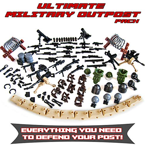 Ultimate Military Army Outpost Weapon Pack Toy for Custom Bricks Minifigures -