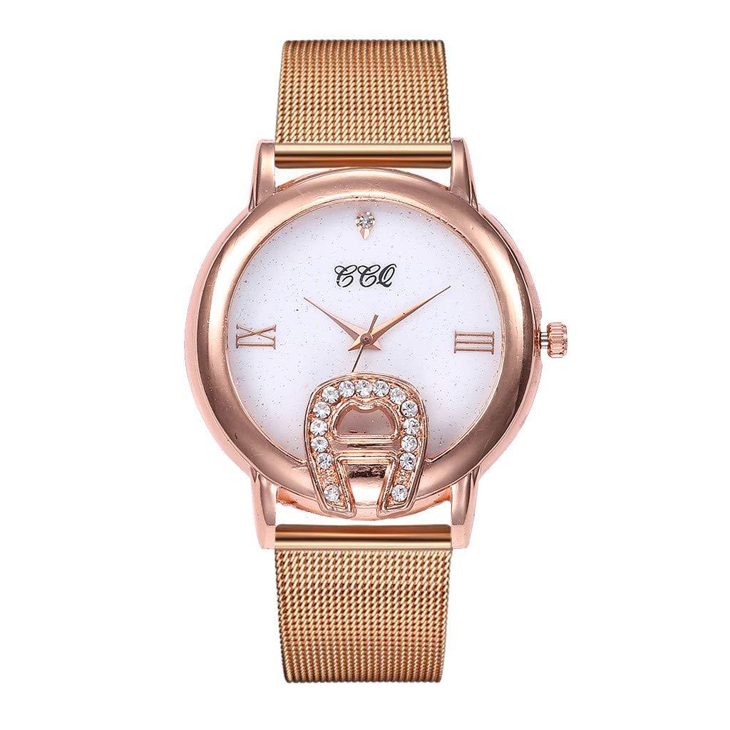 Winsummer Womens Quartz Watch Rose Gold Stainless Steel Dial Analogue Quartz Lady Dress Watch