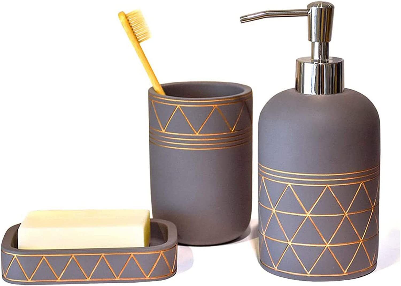 Amazon Com Satu Brown Bathroom Set Bathroom Accessories 3 Pieces Bathroom Soap Dispenser Toothbrush Holder Soap Dish Luxury Set For Bathroom Decor And Home Gift Home Kitchen