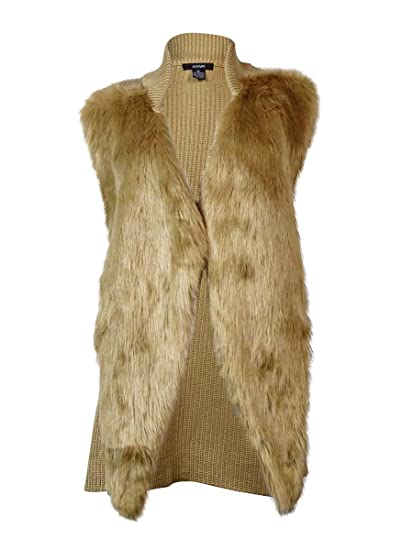 Alfani Womens Faux Fur Open Front Sweater Vest Tan M At Amazon