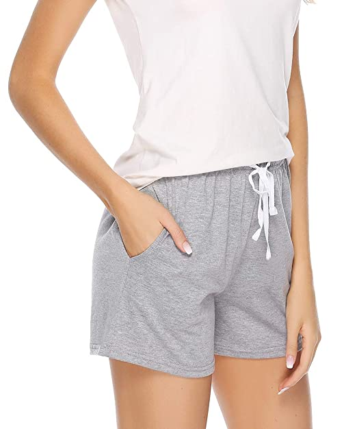 e3af278d9b Sykooria Womens Cotton Pajama Sleep Shorts Yoga Gym Bottoms Casual Soft Stretchy  Solid and Striped Grey
