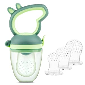 Baby Fresh Food Feeder,Fruit Feeder Pacifier Tinabless Infant Silicone Teether Feeder, Includes 3 Sized Silicone Pouches for Toddlers & Kids