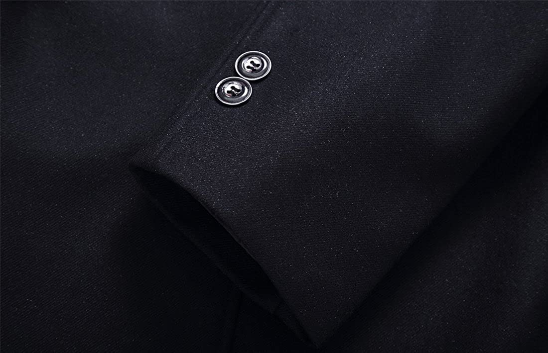 a0dce72b70 Yeokou Men s Business Casual Winter Thick Wool Coat Jacket with Fur Collar  at Amazon Men s Clothing store
